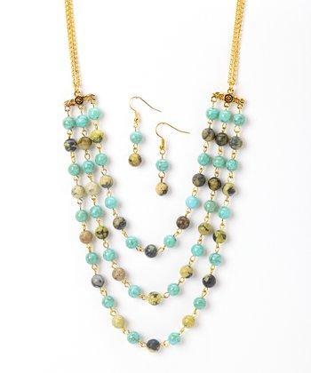 Yellow Turquoise Bib Necklace & Drop Earrings