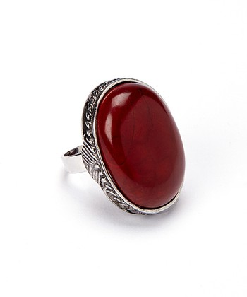 Red Carnelian Oval Adjustable Ring