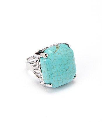 Turquoise Square Adjustable Ring