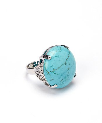 Turquoise Oval Adjustable Ring