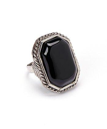 Onyx Square Adjustable Ring