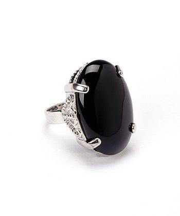 Onyx Oval Adjustable Ring