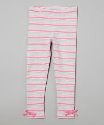 Pink Stripe Bow Organic Leggings - Infant, Toddler & Girls