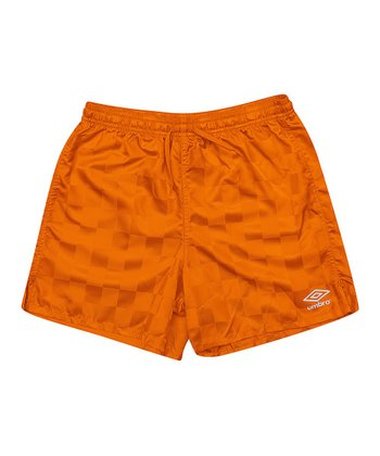 Burnt Orange Checkerboard Shorts - Kids