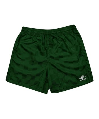 Hunter Green Checkerboard Shorts - Kids