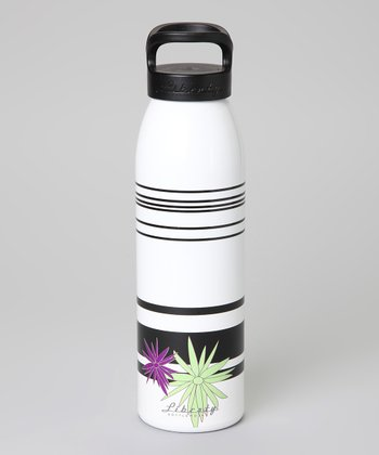 White Coded Flowers Bottle