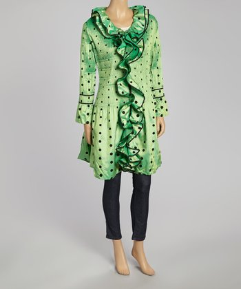 Lime Polka Dot Duster - Women