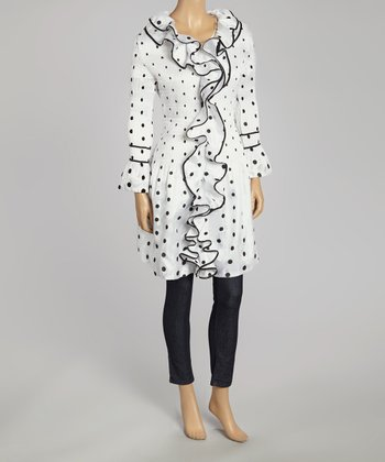 White Ruffle Polka Dot Duster - Women & Plus
