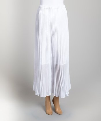 White Pleated Skirt - Women & Plus