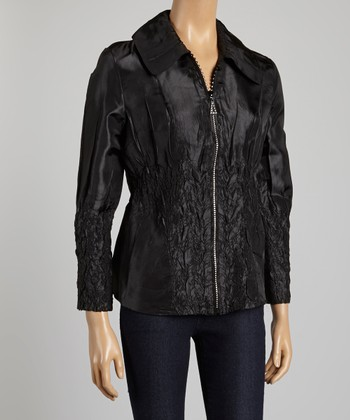 Black Crinkle Jacket - Women & Plus