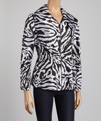 Black & White Zebra Crinkle Jacket - Women & Plus