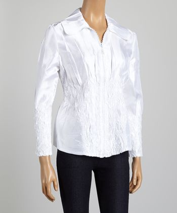 White Feather Crinkle Jacket - Women & Plus