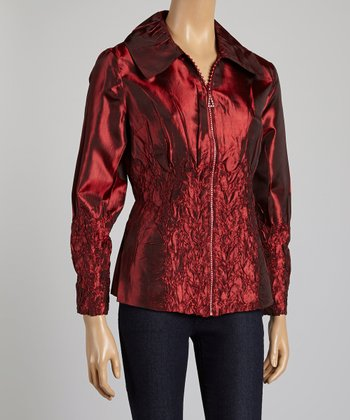 Red Feather Crinkle Jacket - Women & Plus