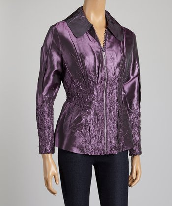 Purple Feather Crinkle Jacket - Women