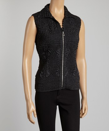 Black Textured Vest - Women & Plus
