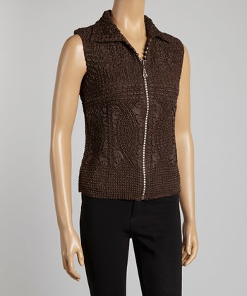 Brown Textured Vest - Women & Plus