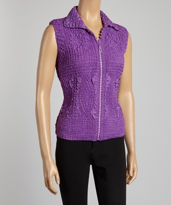 Purple Textured Vest - Women & Plus