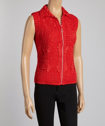 Red Textured Vest - Women & Plus