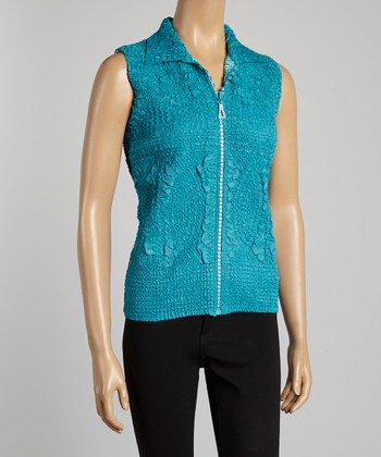 Teal Textured Vest - Women & Plus