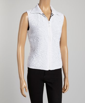 White Zebra Textured Vest - Women & Plus