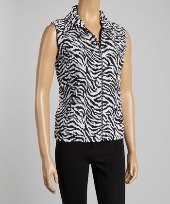Black Zebra Textured Vest - Women