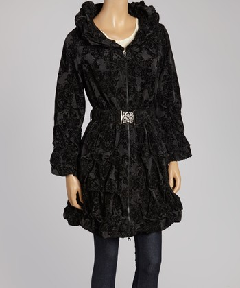 Black Crinkle Belted Jacket - Women & Plus