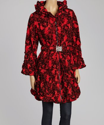 Red Crinkle Belted Jacket - Women & Plus