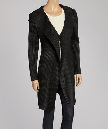 Black Textured Duster - Women & Plus