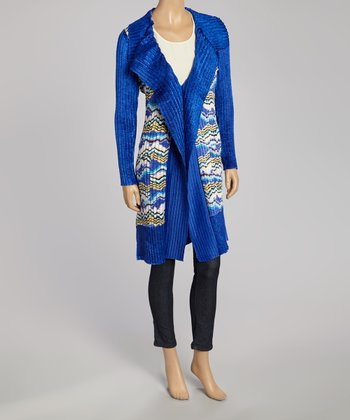 Blue Abstract Textured Duster - Women & Plus