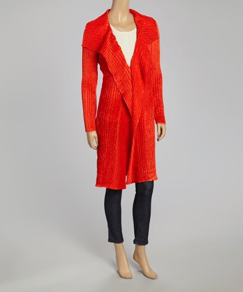Red Textured Duster - Women & Plus