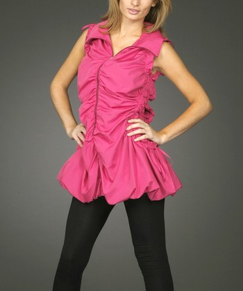 Fuchsia Ruched Zipper Tunic - Women & Plus