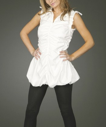 White Ruched Zipper Tunic - Women & Plus