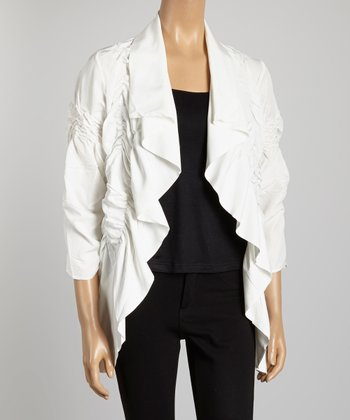 White Ruched Open Cardigan - Women & Plus
