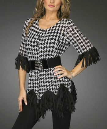 Black & White Houndstooth Belted Tunic - Women & Plus