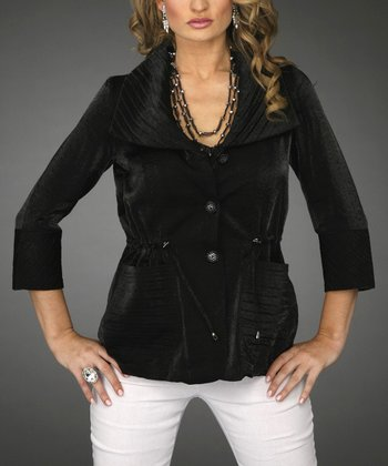 Black Drawstring Waist Cardigan - Women & Plus