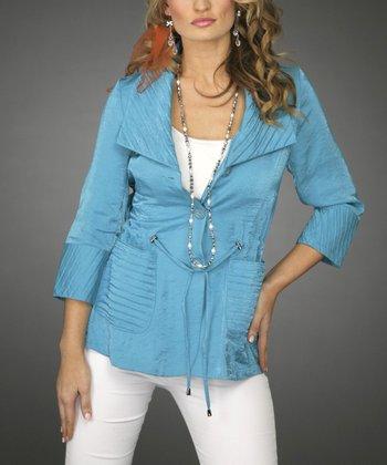 Turquoise Drawstring Waist Cardigan - Women & Plus