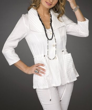 White Drawstring Waist Cardigan - Women & Plus