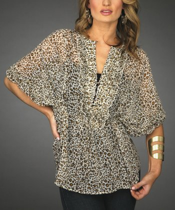 Cream Leopard Sheer Dolman Top - Women & Plus
