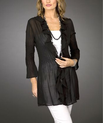 Black Sheer Cardigan - Women & Plus
