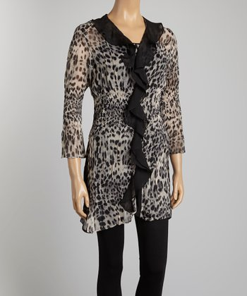 Gray Leopard Duster - Women & Plus