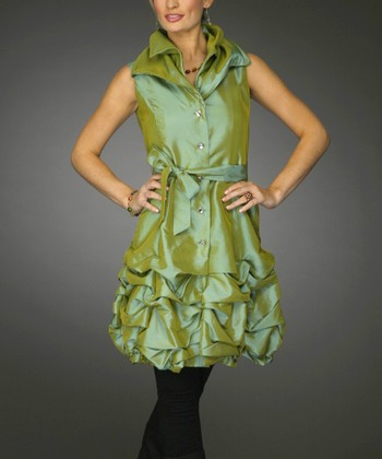 Lime Metallic Ruffled Hem Tunic - Women & Plus