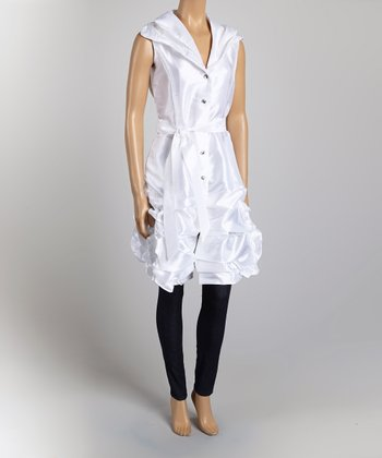 White Belted Ruched Tunic - Women & Plus