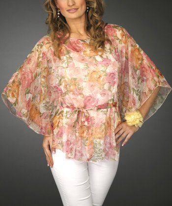 Pink Floral Sheer Dolman Top - Women