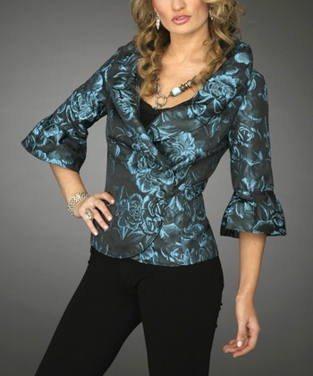 Turquoise & Black Jacket - Women & Plus