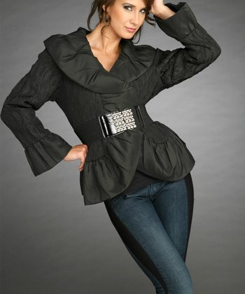 Black Belted Jacket- Women & Plus