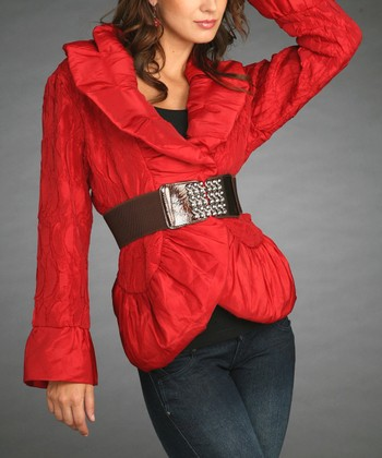 Red Belted Jacket - Women & Plus