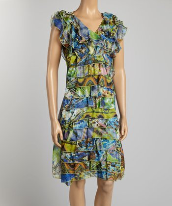 Blue & Green Ruffle Dress - Women & Plus