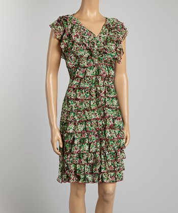 Green Ruffle Dress - Women & Plus