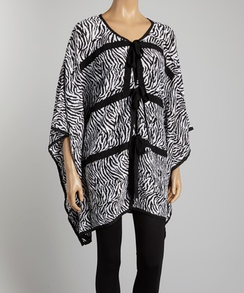 Black & White Zebra Poncho - Women & Plus
