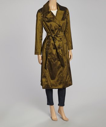 Olive Grommet Trench Coat - Women & Plus